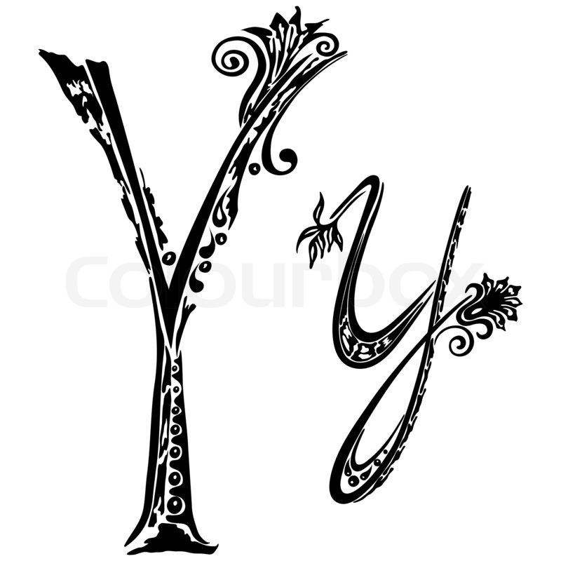 Letter Y In The Style Of Abstract Floral Pattern On A White Background