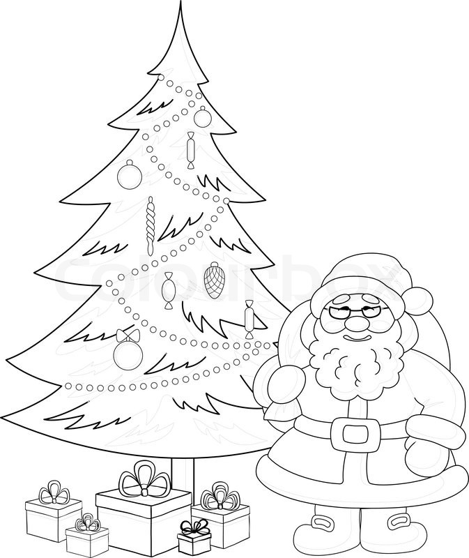 santa claus and christmas tree contours stock vector colourbox