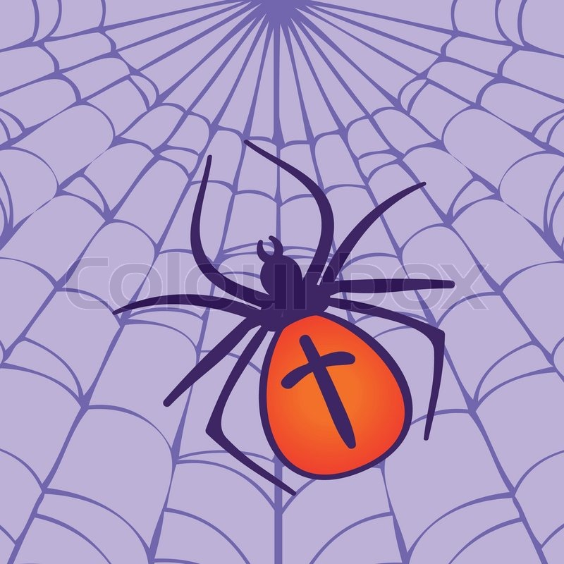 Halloween Spider hanging on the web | Stock Vector | Colourbox