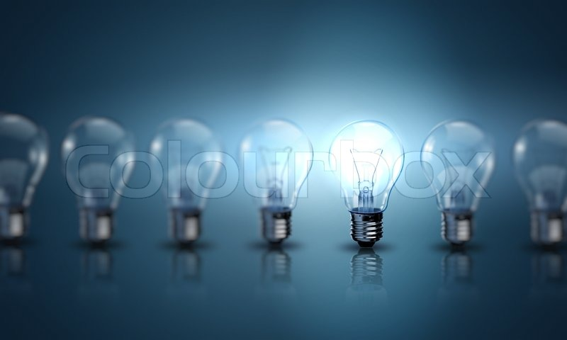 Light Bulb Lamps On A Colour Background Stock Photo