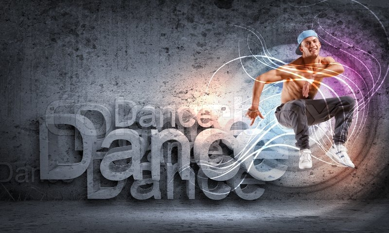 Young Man Dancing Hip Hop With Color Lines Stock Photo Young Man In A