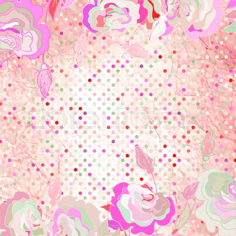 Pink Polka Dot Wallpaper: Pink Polka Dot Background With Flower EPS 8