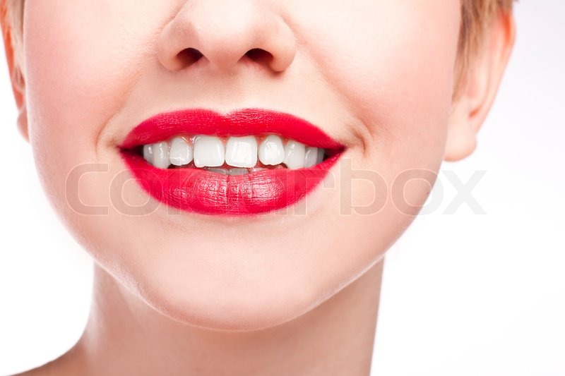 Young Girl With Snow White Smile Red Lipstick Stock