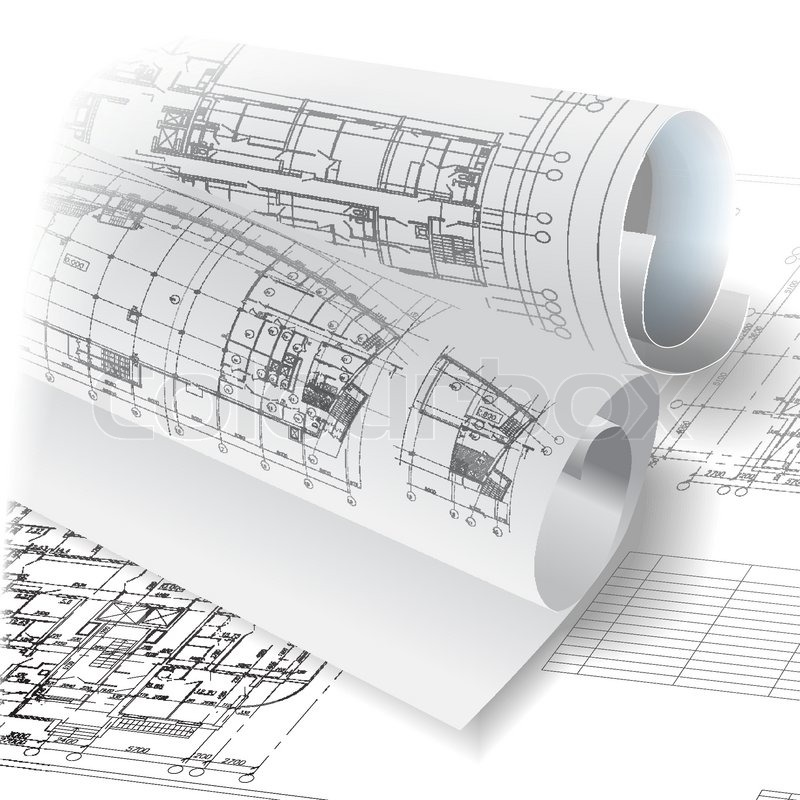 architectural background with drawing tools and rolls of architectural 3d diagrams