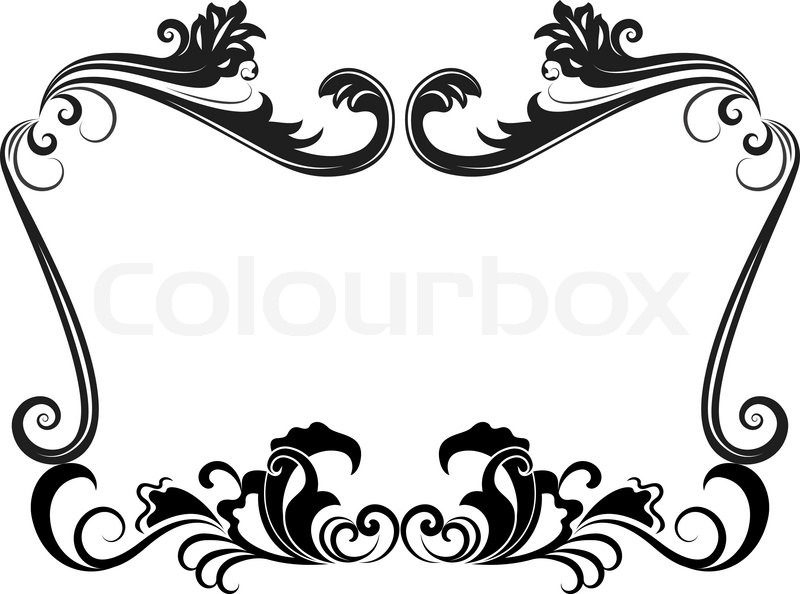 Flower  on Stock Vector Of  Black And White Vintage Floral Frame Template