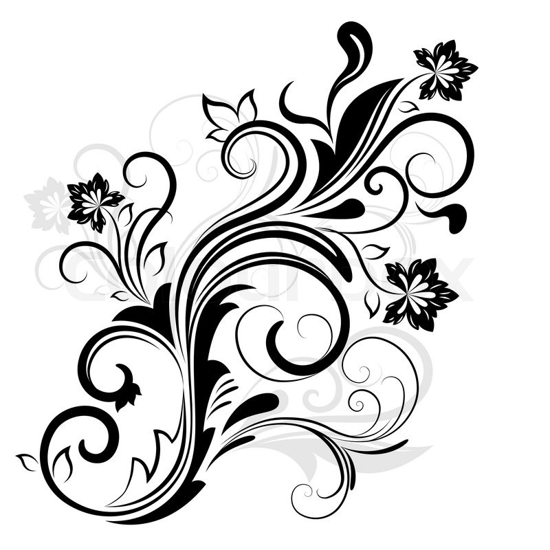 Black and white floral design element isolated on white ...