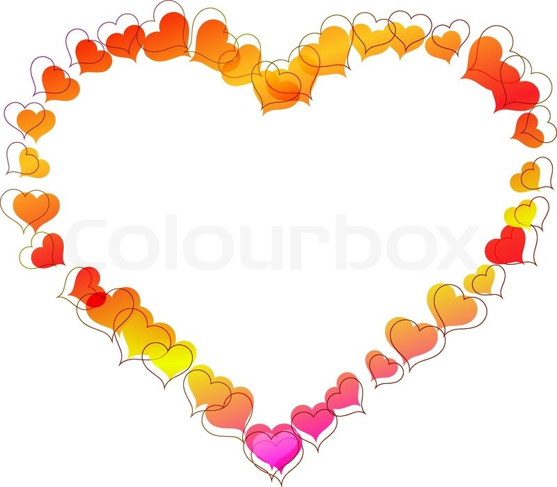 Heart shaped frame made of small heart shapes. | Stock Vector ...