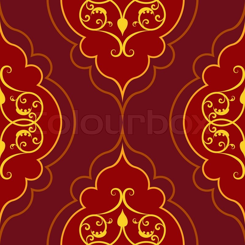 Seamless red simple damask vector pattern. | Stock Vector ...