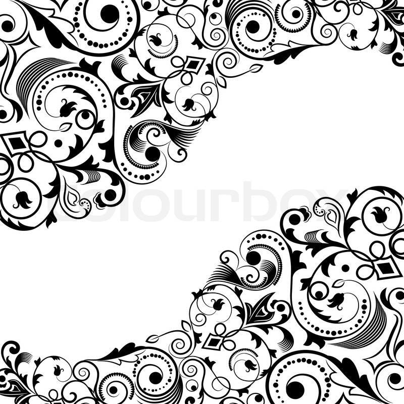 Black Flower Pattern Stock Images: Black And White Floral Corner Vector ...