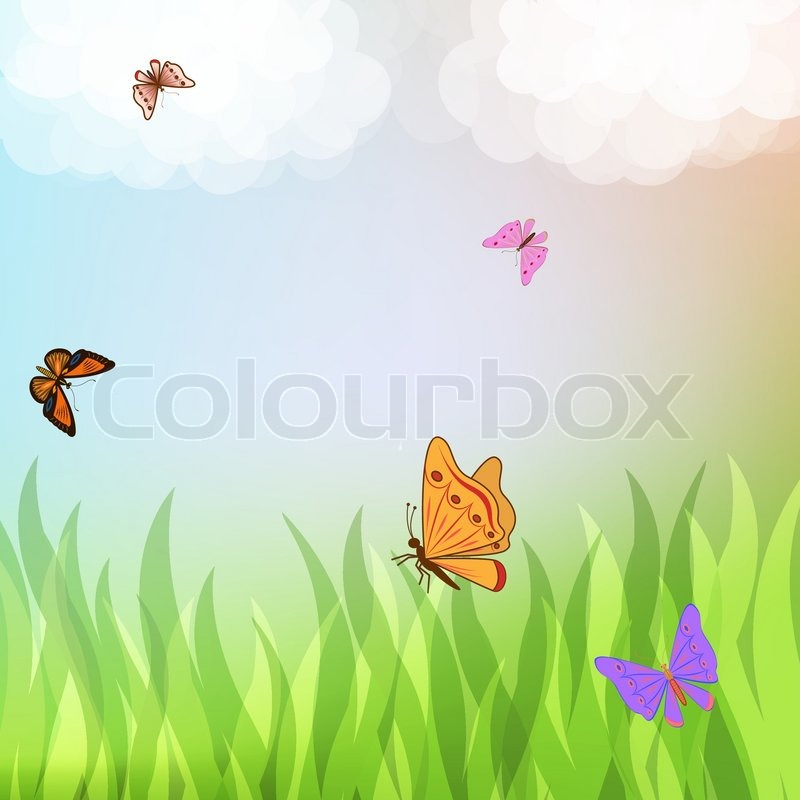 Colorful butterflies flying over green grass vector illustration ...