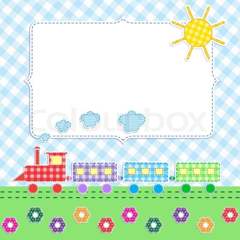 Frame with cartoon train   Stock Vector   Colourbox