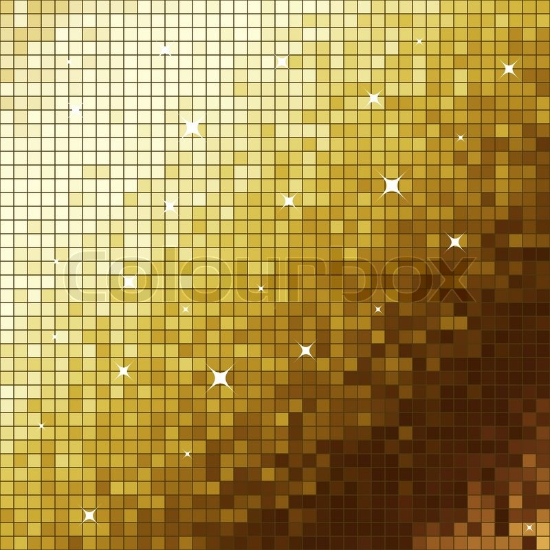 Golden Like Mosaic Flickering Square Vector Background