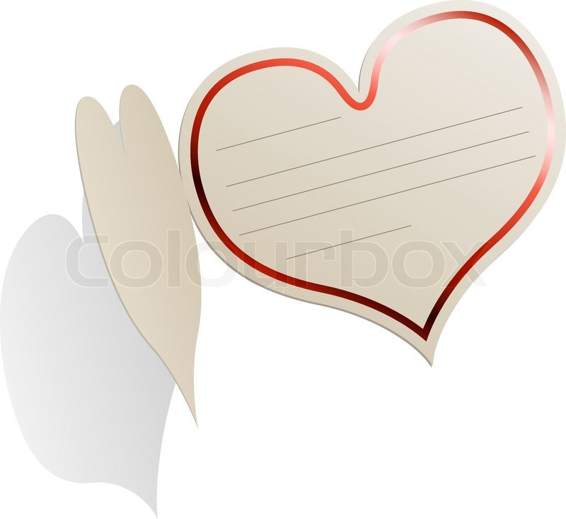 heart shaped blank valentine s day card with red frame isolated on