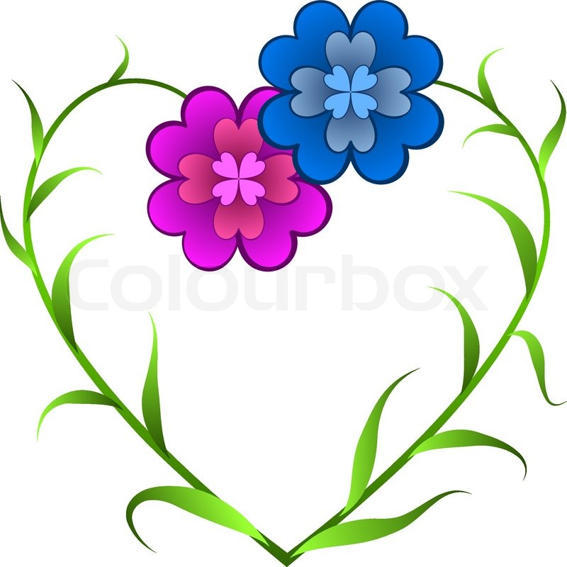 Vector card with flowers forming heart shape symbolizing love in outline drawing style stock vector colourbox