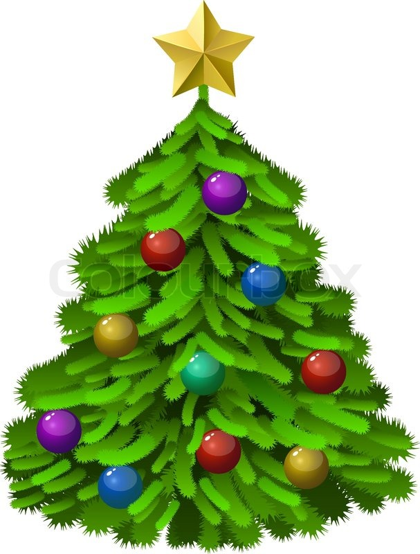 Christmas Tree White Background.Green Decorated Christmas Tree Stock Vector Colourbox