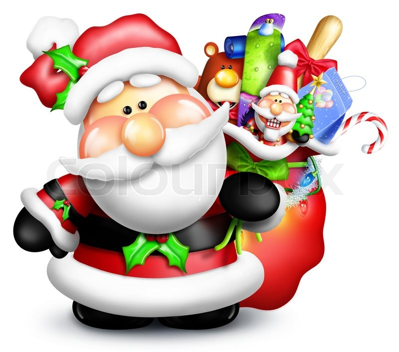 Cartoon santa claus with gift bag stock photo colourbox negle Image collections
