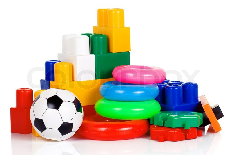 Colorful Plastic Toys Isolated On White Stock Photo