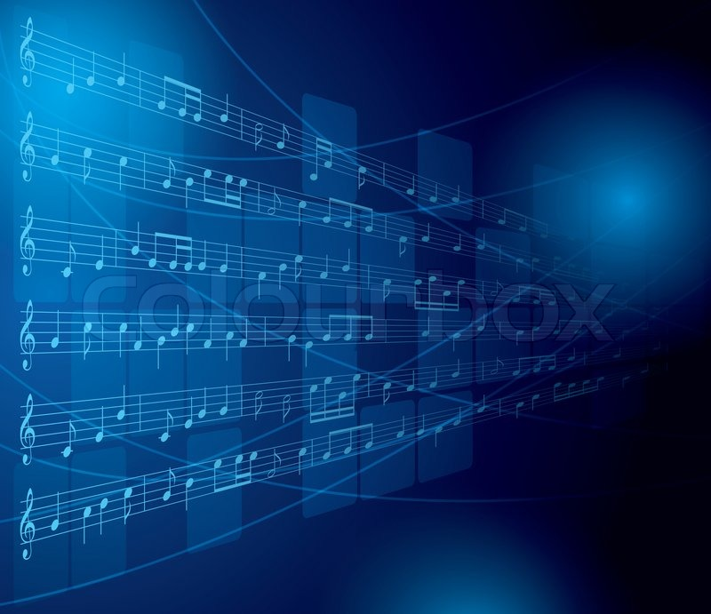 blue musical background with notes and squares stock