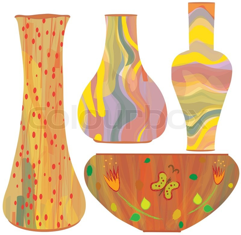 Collection Of Ceramic Vases With Colorful Painting Stock Vector