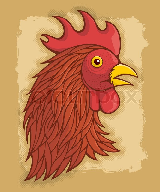 Red Roosters Head Stock Vector Colourbox