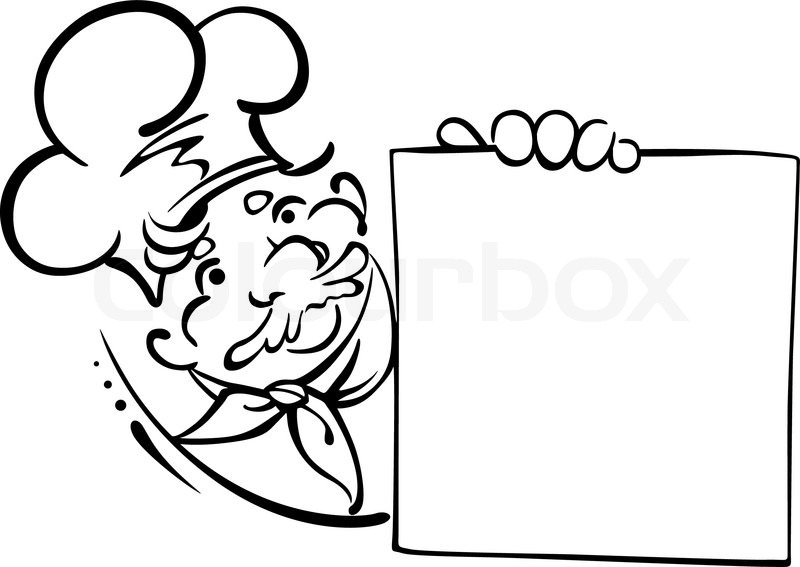 Smiling Chef With Menu Stock Vector Colourbox