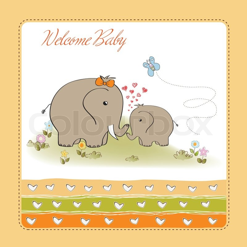 Baby Shower Wiki: Baby Shower Card With Baby Elephant And His Mother