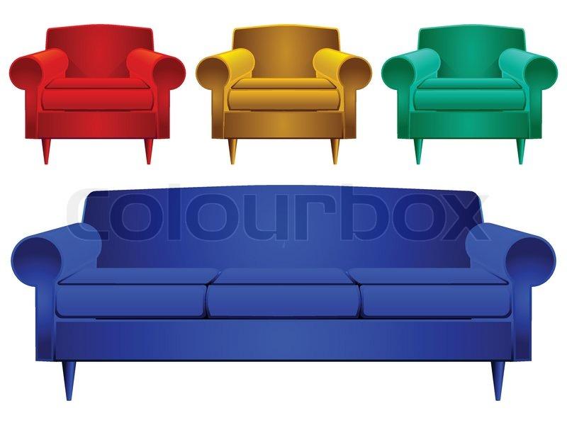 couch und sessel vektorgrafik colourbox. Black Bedroom Furniture Sets. Home Design Ideas