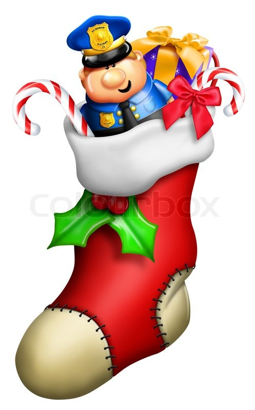 Christmas Toys Cartoon : Cartoon christmas stocking for boy with toys stock photo