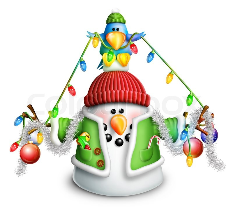 Christmas Lights Cartoon.Cartoon Snowman With Christmas Lights Stock Image