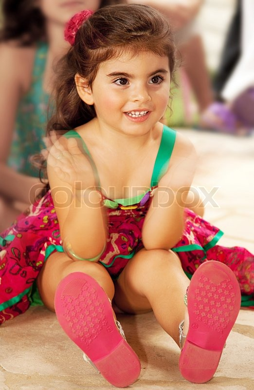 little cheerful baby girl clap one s hands stock photo colourbox