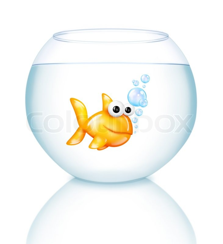 cartoon goldfisch im goldfischglas stockfoto colourbox. Black Bedroom Furniture Sets. Home Design Ideas