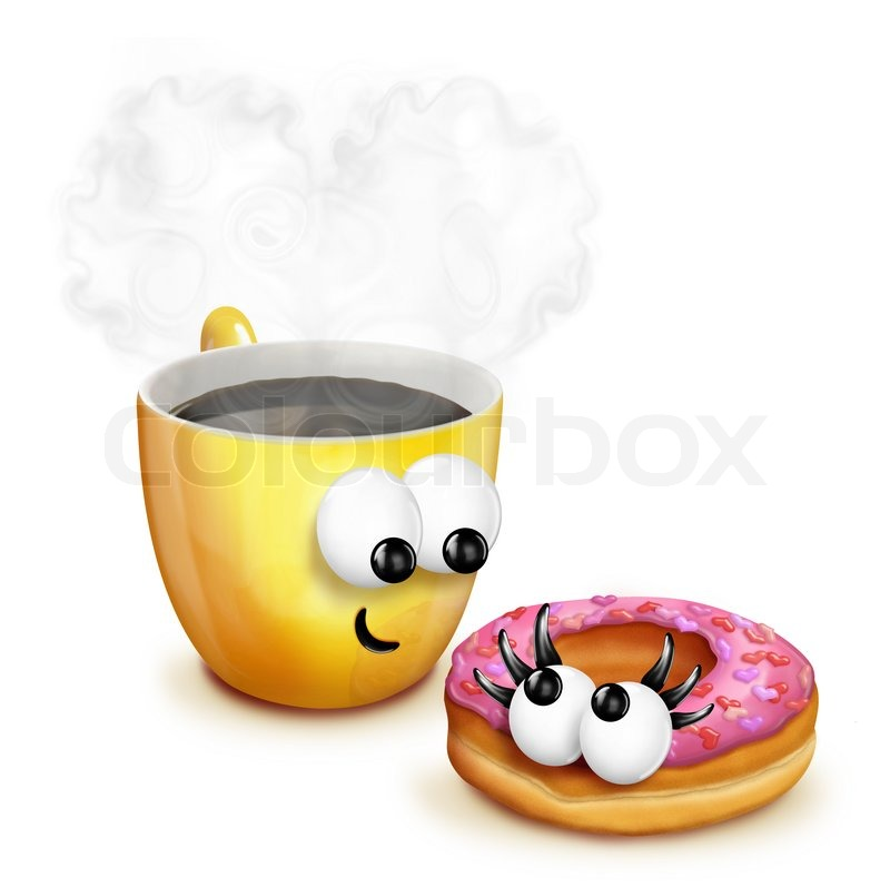 Cartoon Doughnut Factory: Whimsical Cartoon Coffee Cup With Doughnut