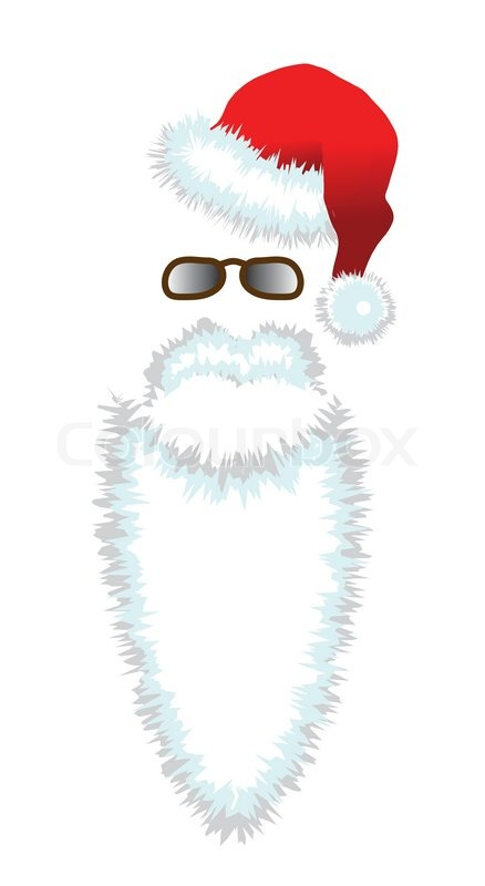 red santa claus hat beard and glasses stock vector