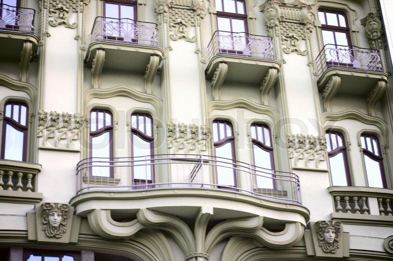 Old vintage building with fire escape in Odessa , monotone, stock photo