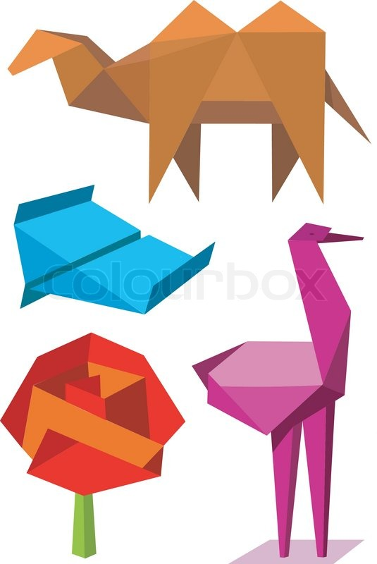 colorful origami objects stock vector colourbox