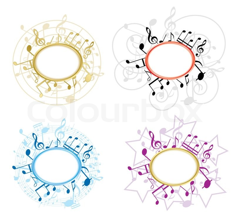 Music oval frames with notes - vector set | Stock Vector | Colourbox