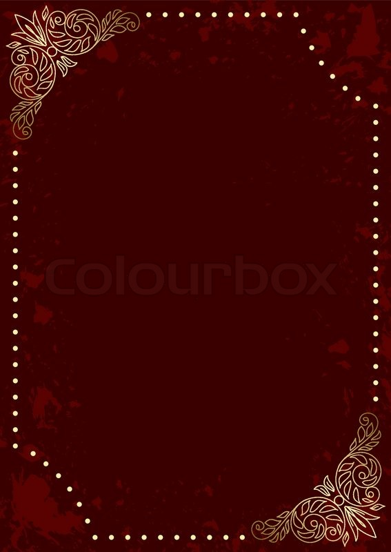 Dark red vertical card with gold decorative frame - vector ...