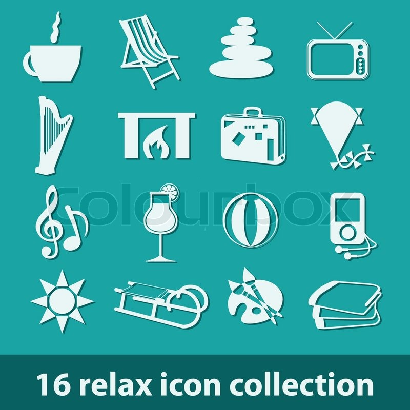 16 relax icon collection, vector