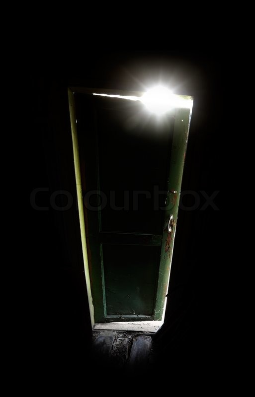 Old dark room with shining closed door Sip of light from green glass metaphor & Hand of a man trying to open old door and escape from the dark ... pezcame.com