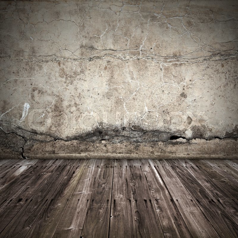 Old Dark Grunge Interior Background With Concrete Wall And Weathered Wooden  Lining Boards Floor, Stock Photo