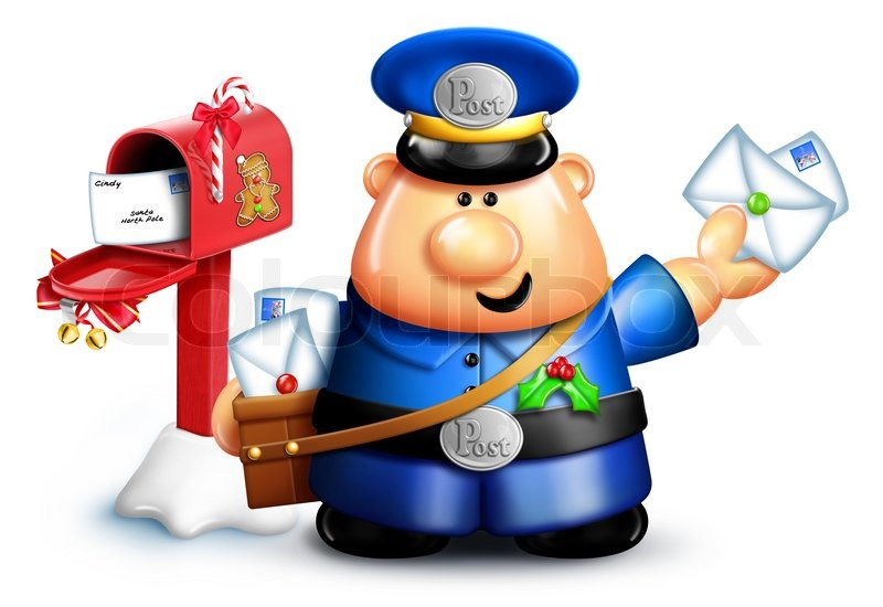 Cartoon Christmas Mailman with Mailbox and Letters | Stock Photo ...