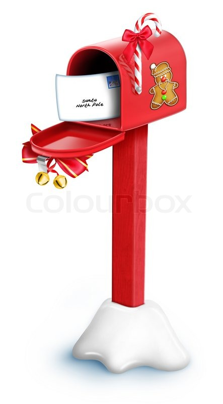 Stock image of 'Cartoon Christmas Mailbox with Post'
