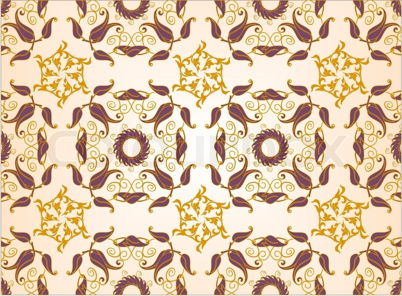 Old Lux Art Silk Leaf Brown Curve Tiled Retro