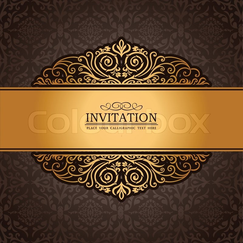 Abstract brown background with exclusive, antique, luxury, vintage, gold frame, creative ...