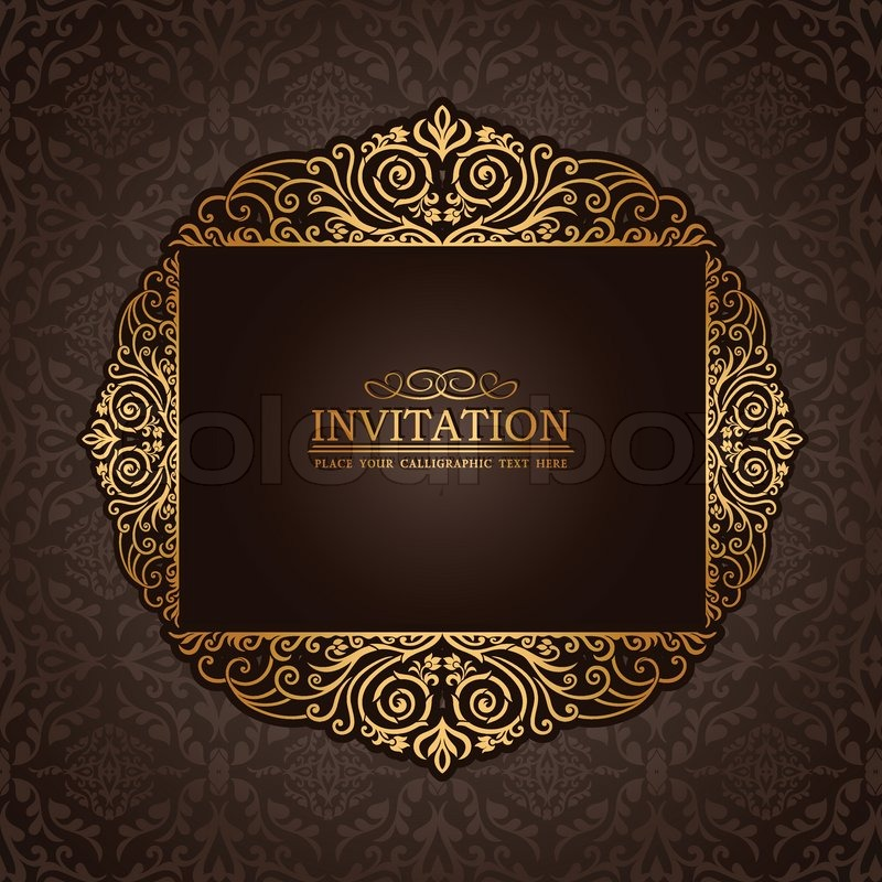Invitation card antique style booklet pattern template for design