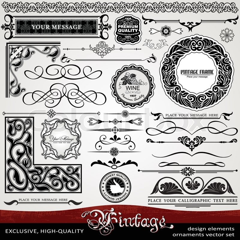 Luxury Vintage Style Exclusive Highest Quality Classic Set Of Creative Ornaments Artistic Ornate Frames Labels Borders Patterns Banners Calligraphy