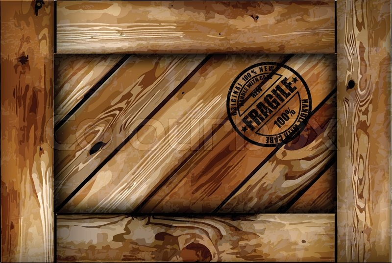 Fragile Wooden Box With Stamp Vector Background