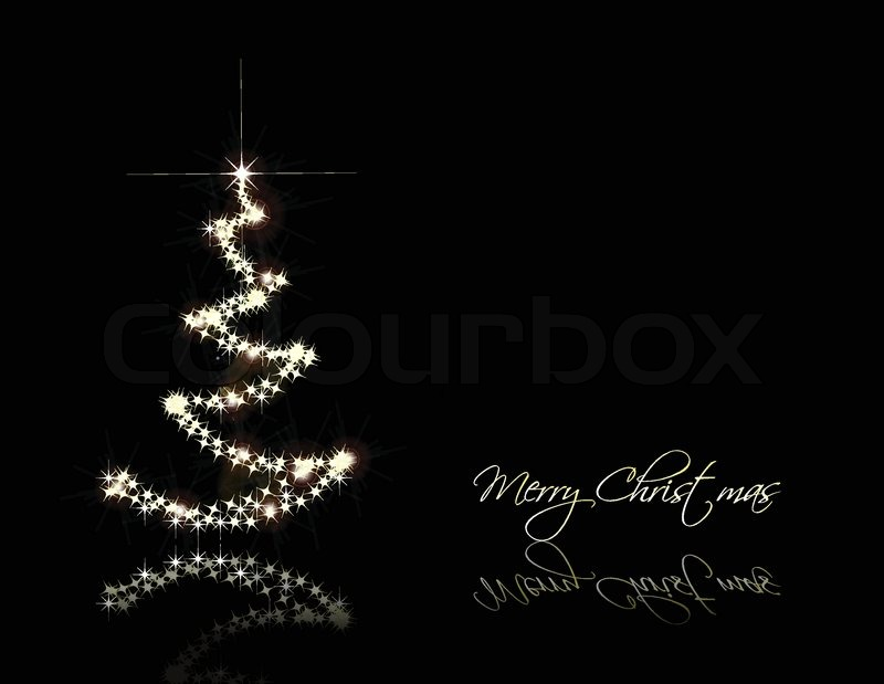 christmas black card with gold tree vector stock vector colourbox