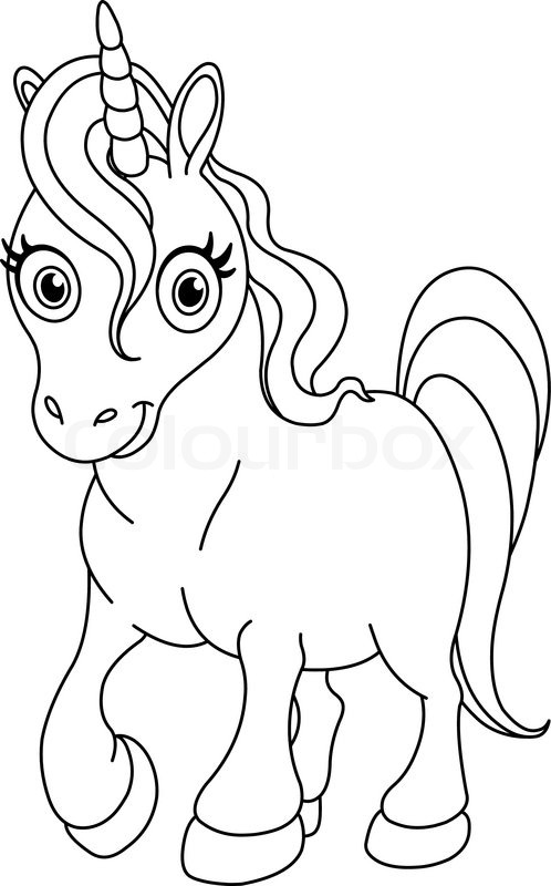 Outlined coloring page cute unicorn Stock Vector Colourbox
