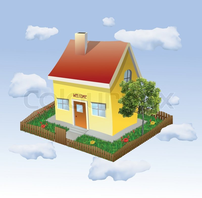 house in the yard with tree and grass vector | stock vector,